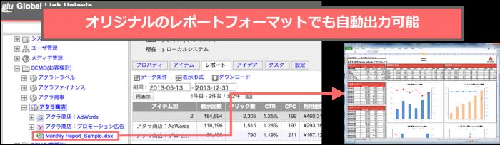 オリジナルのレポートフォーマットでも自動出力可能