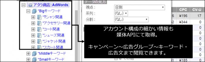 アカウント構成の細かい情報もメディアAPIにて取得。